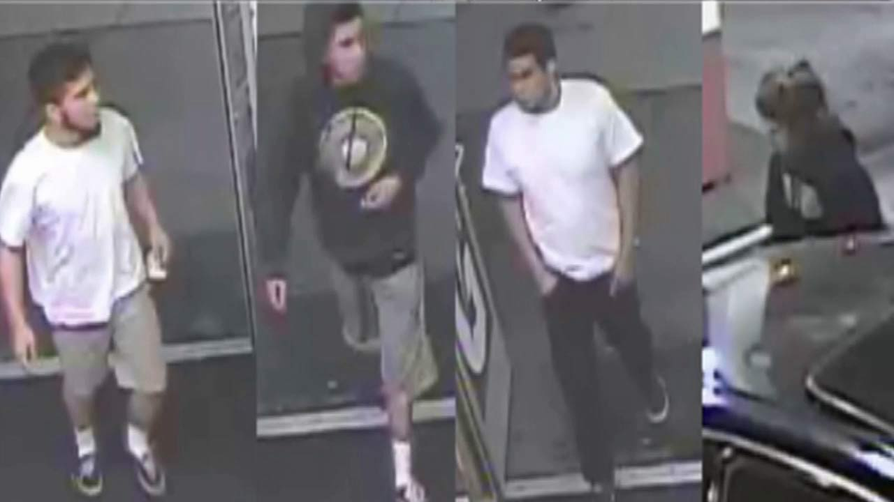Four suspects who are wanted in connection to the assault and robbery of an 87-year-old Pasadena man are shown in surveillance footage on Friday, March 27, 2015.
