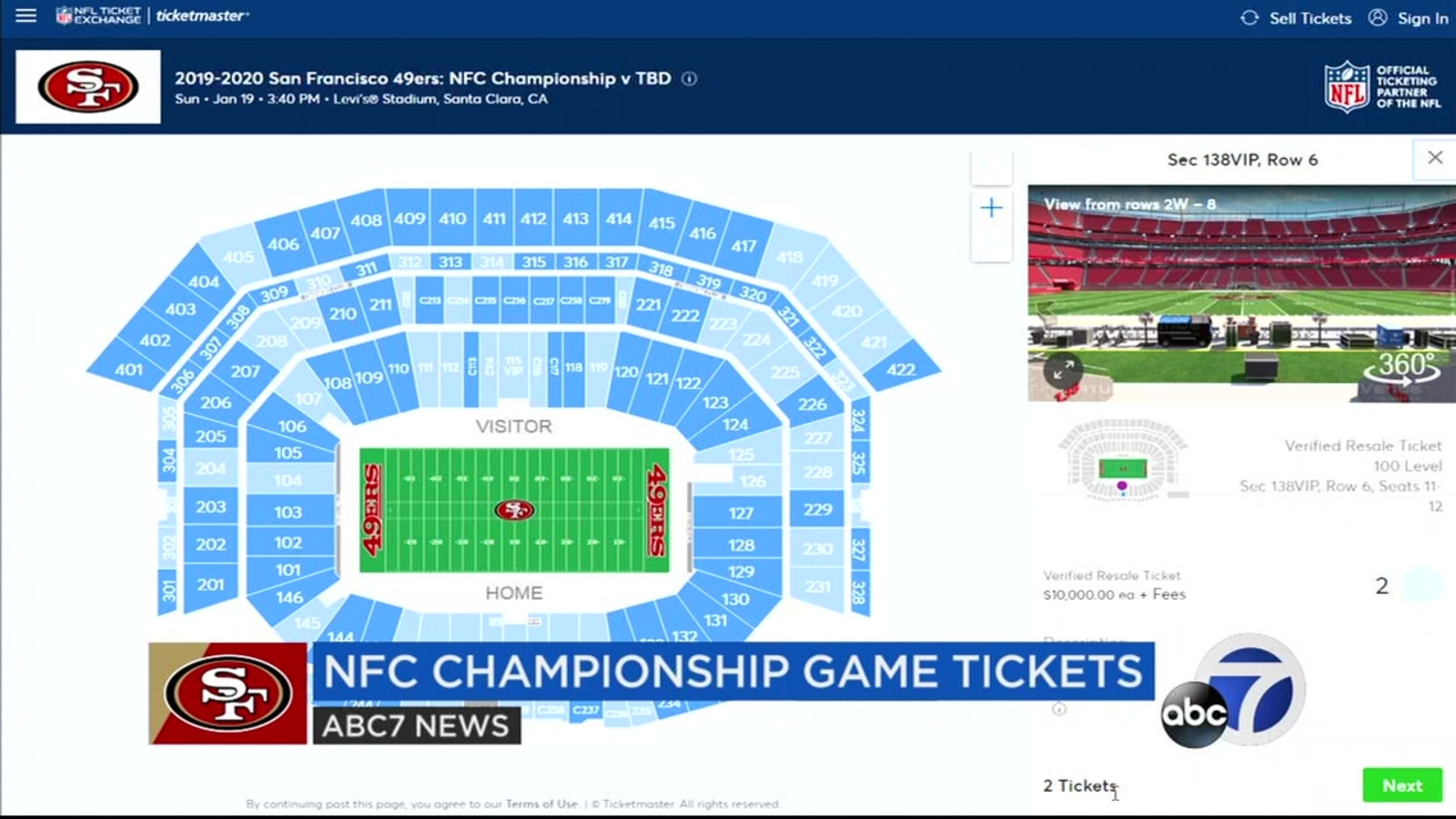 Lowest Highest Ticket Prices To Watch 49ers For Sunday S Nfc Championship Game At Levi S Stadium In Santa Clara Abc7 San Francisco