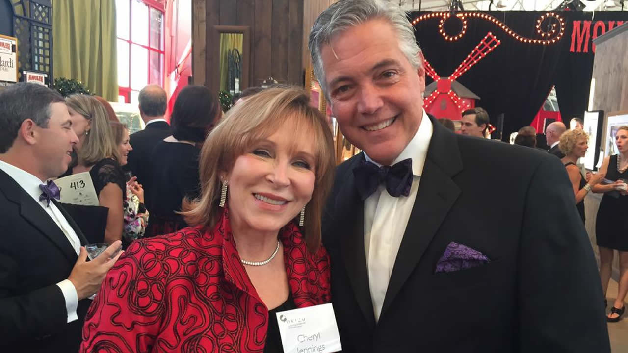 ABC7's Cheryl Jennings and Dan Noyes emceed a gala to benefit Novato-based nonprofit Camp Okizu in San Francisco on March 28, 2015.