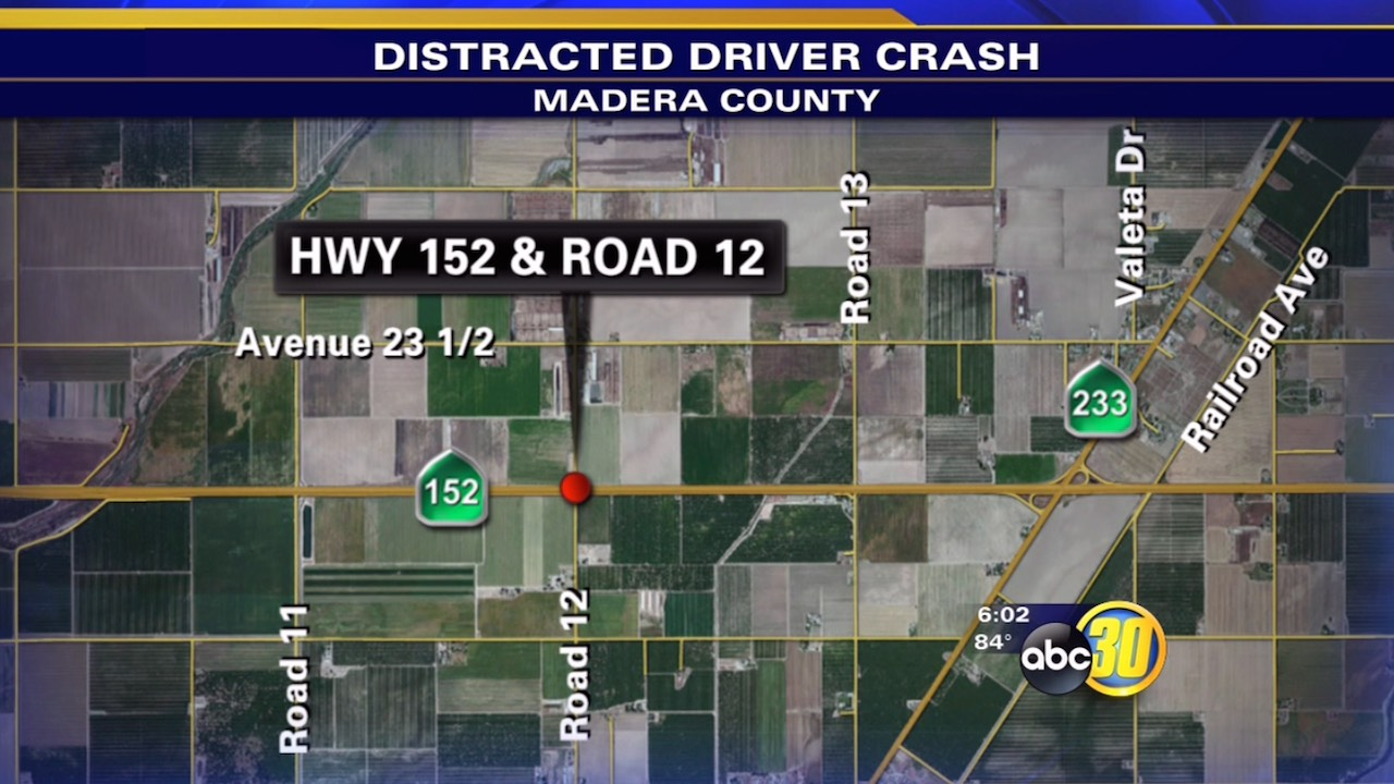 Distracted driving crash injures 7 in Madera County, CHP says