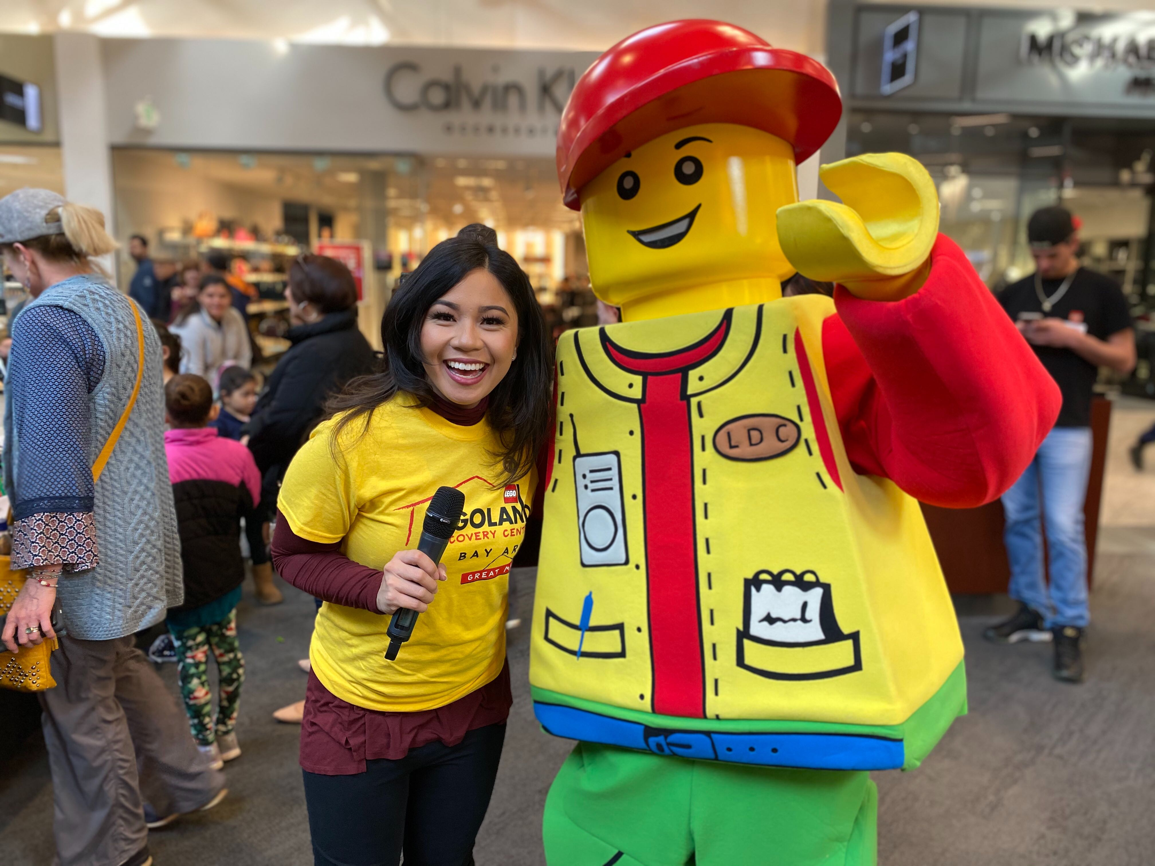 ABC7 News' Amanda del Castillo emcees for the LEGO brick competition at Legoland's Discovery Center inside the Great Mall in Milpitas on Jan. 18, 2020.