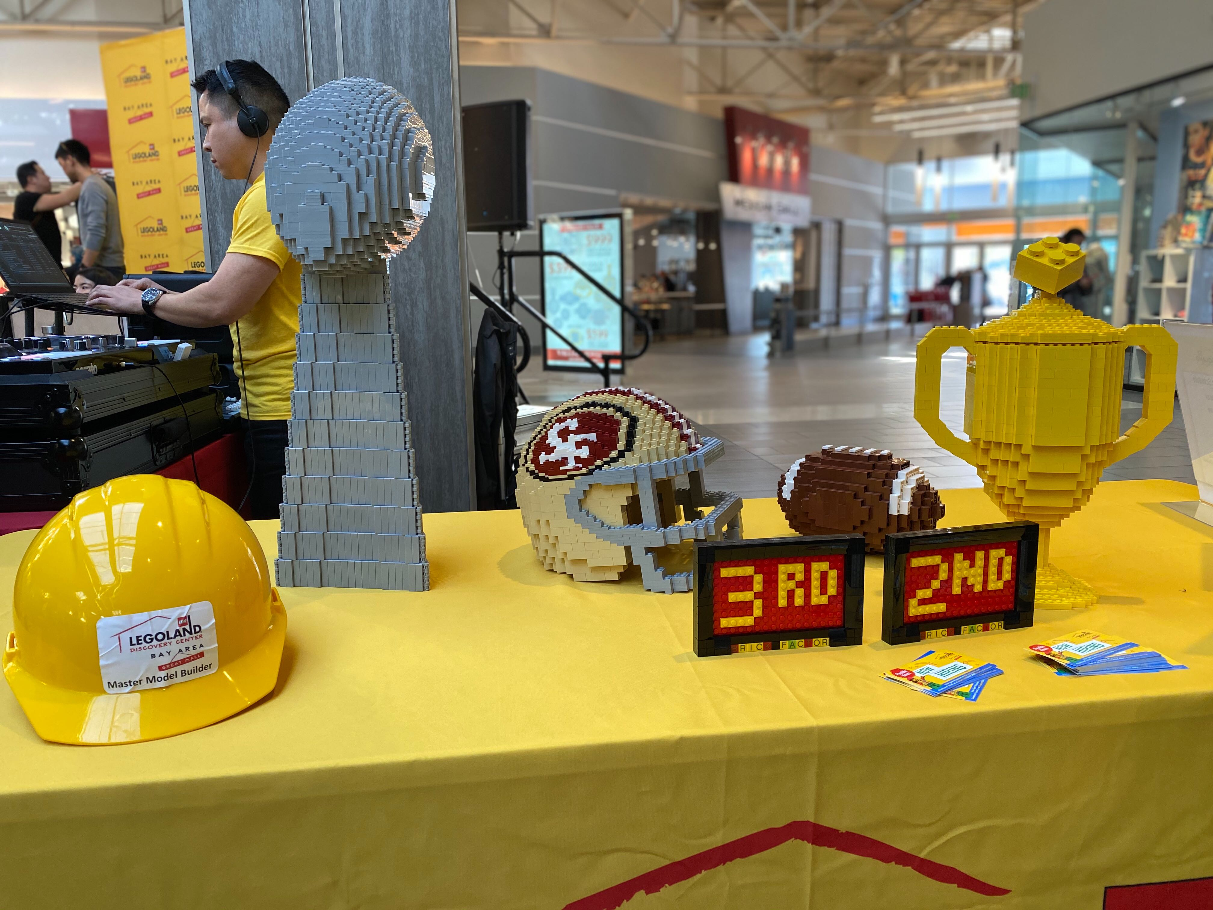 This image shows a LEGO replica of a 49ers helmet, a football and a Vince Lombardi Super Bowl trophy in Milpitas, Calif. on Jan. 18, 2020.
