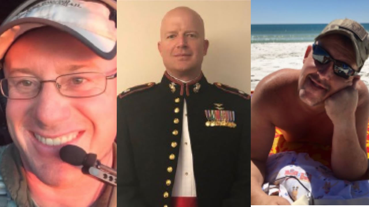 The split image shows the three U.S. firefighters who died in the plane crash fighting Australian fires. Ian H McBeth from Montana, Paul Clyde Hudson from Arizona and Rick A. DeMorgan Jr. from Florida.