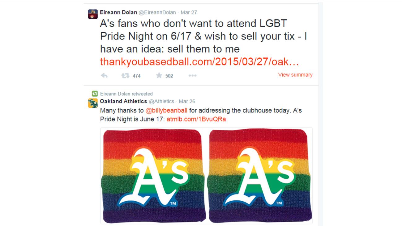 Tweets regarding Oakland A's Pride Night