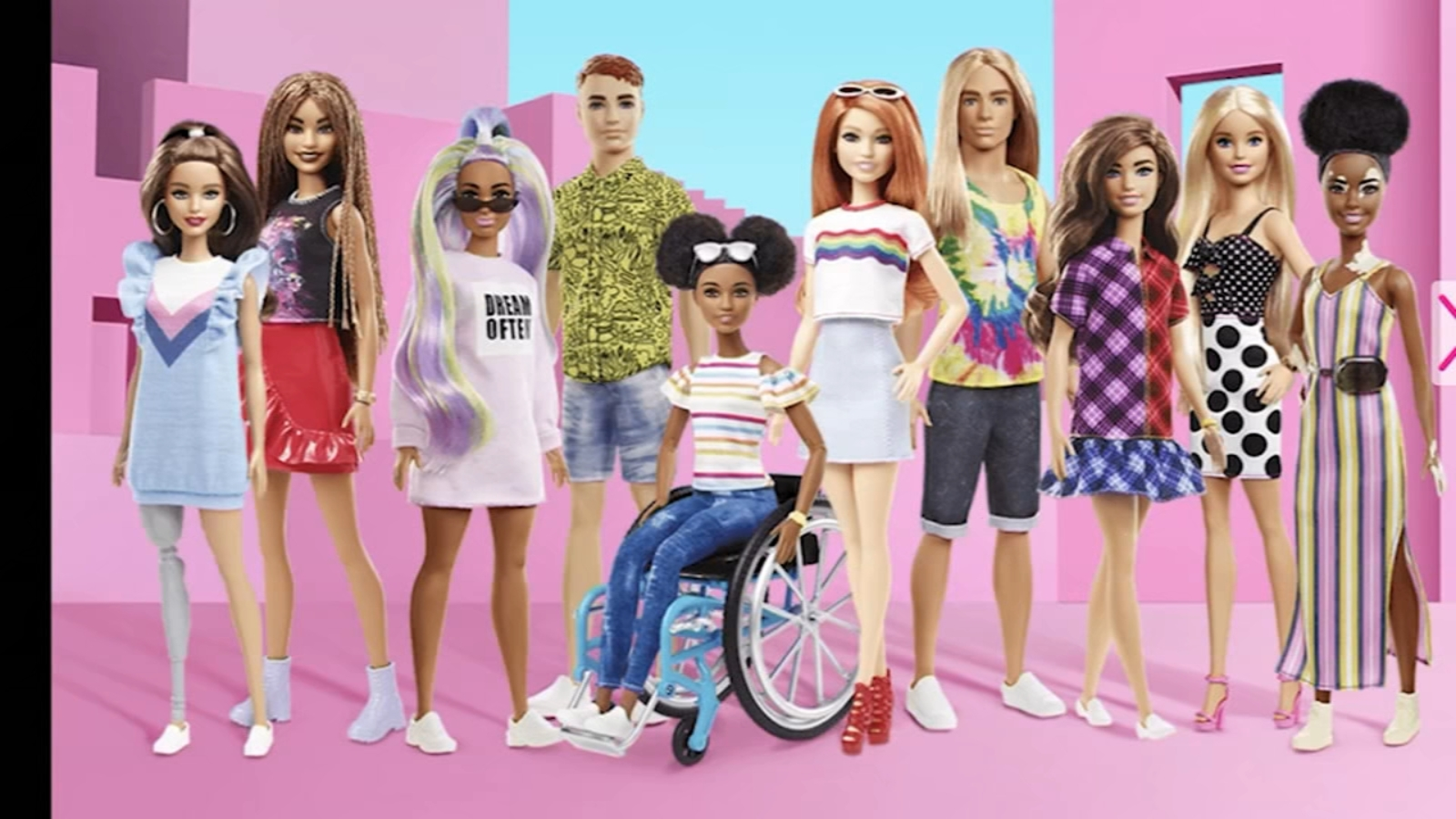 Mattel releasing Barbie dolls with prostheses, no hair, Vitiligo,  wheelhairs and more to reflect customer diversity - ABC7 San Francisco