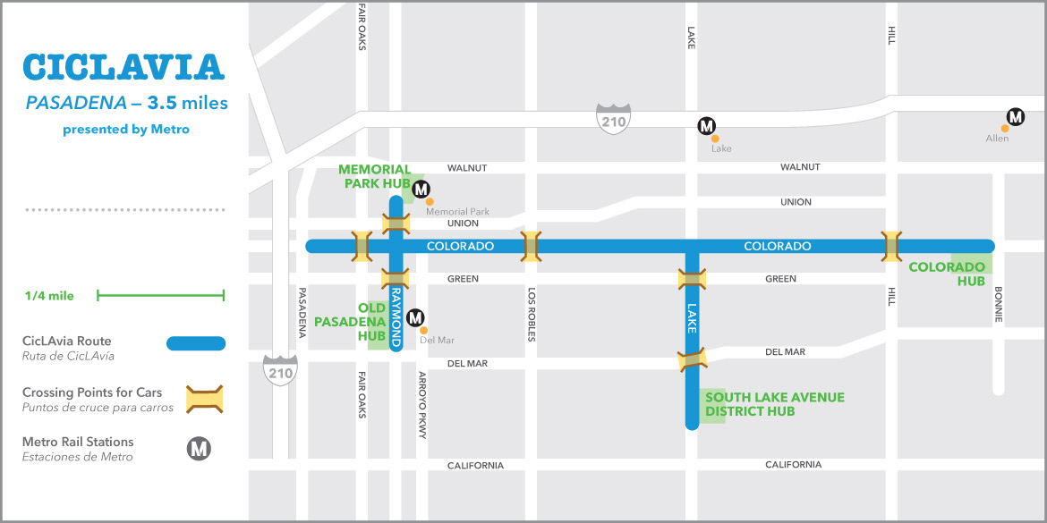 This map shows the planned road closures for the CicLAvia Pasadena event on Sunday, May 31, 2015.