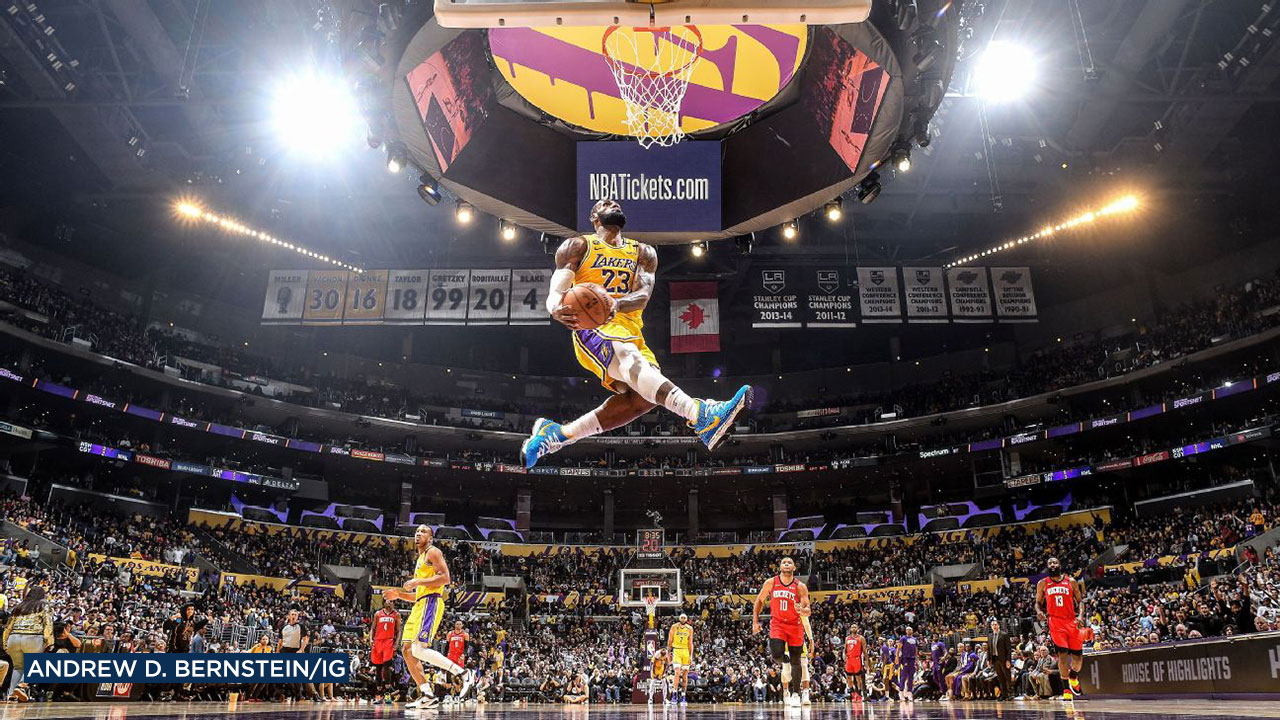 This iconic image of a LeBron James dunk was captured by team photographer Andrew D. Bernstein.