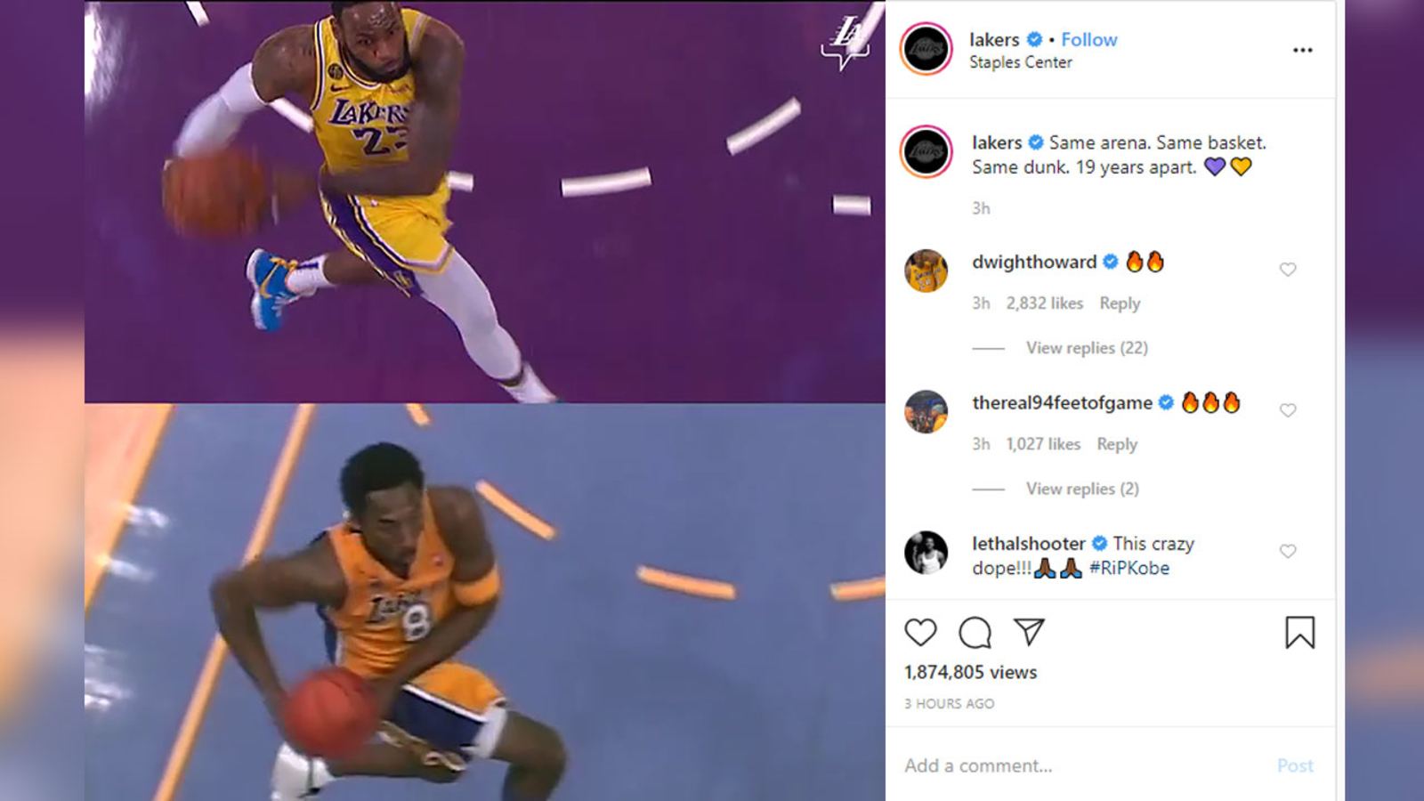 Lebron James And Kobe Bryant Become Dunking Twins In Stunning Side By Side Video Released By Lakers Abc7 Los Angeles