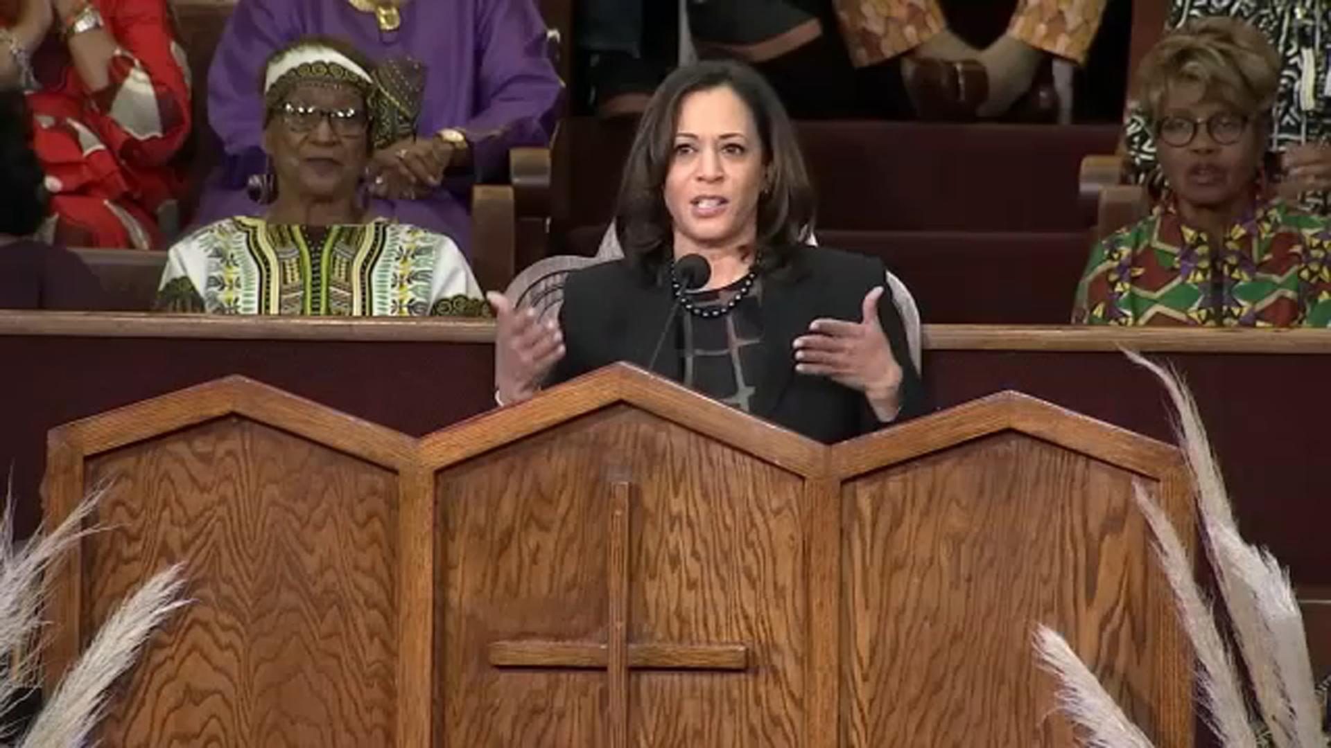 Sen Kamala Harris Speaks At Church During Black History Month Celebration Abc7 Los Angeles