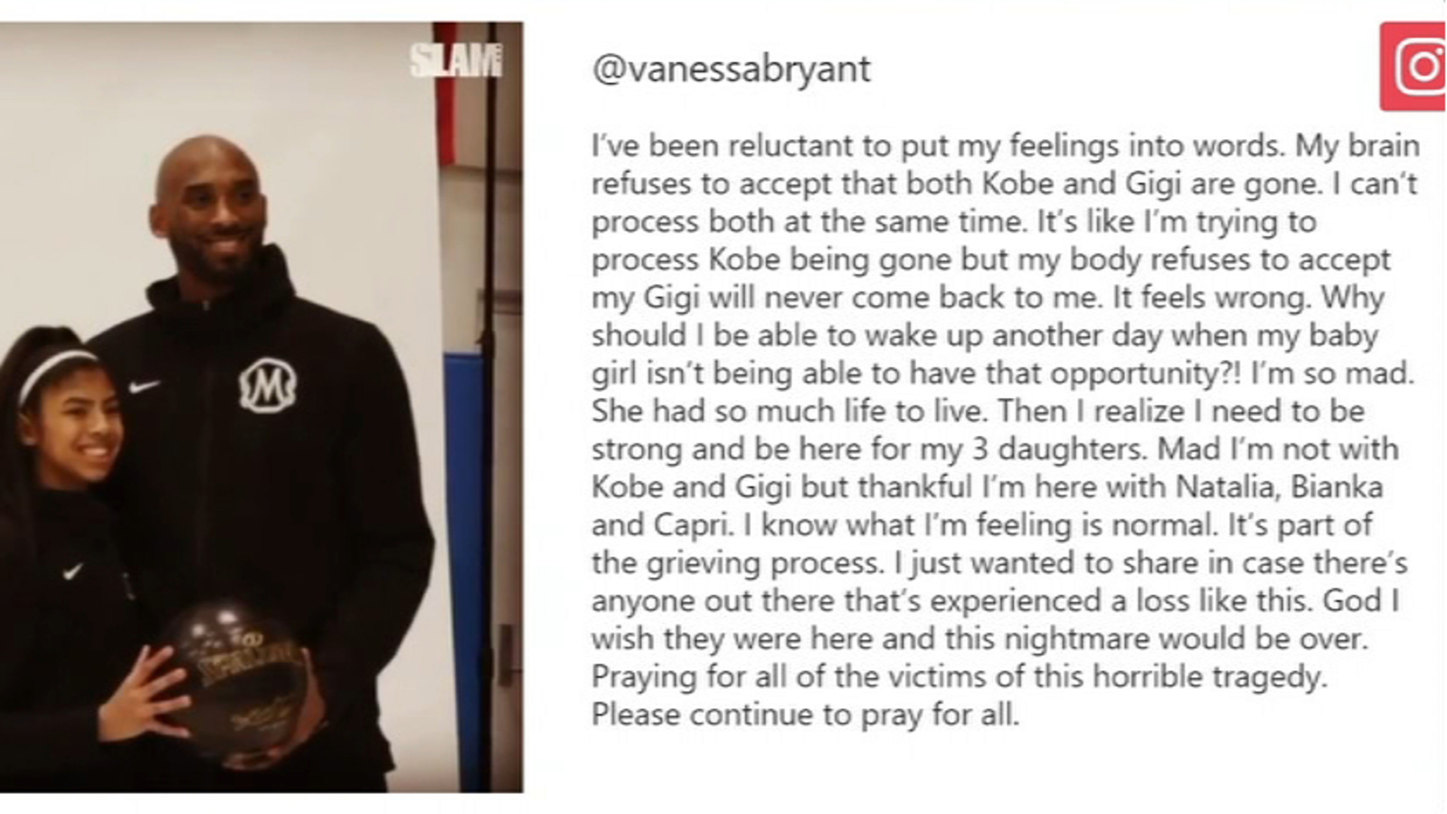 Vanessa Bryant Opens Up About Death Of Kobe Gianna In Emotional Instagram Post God I Wish They Were Here Abc13 Houston