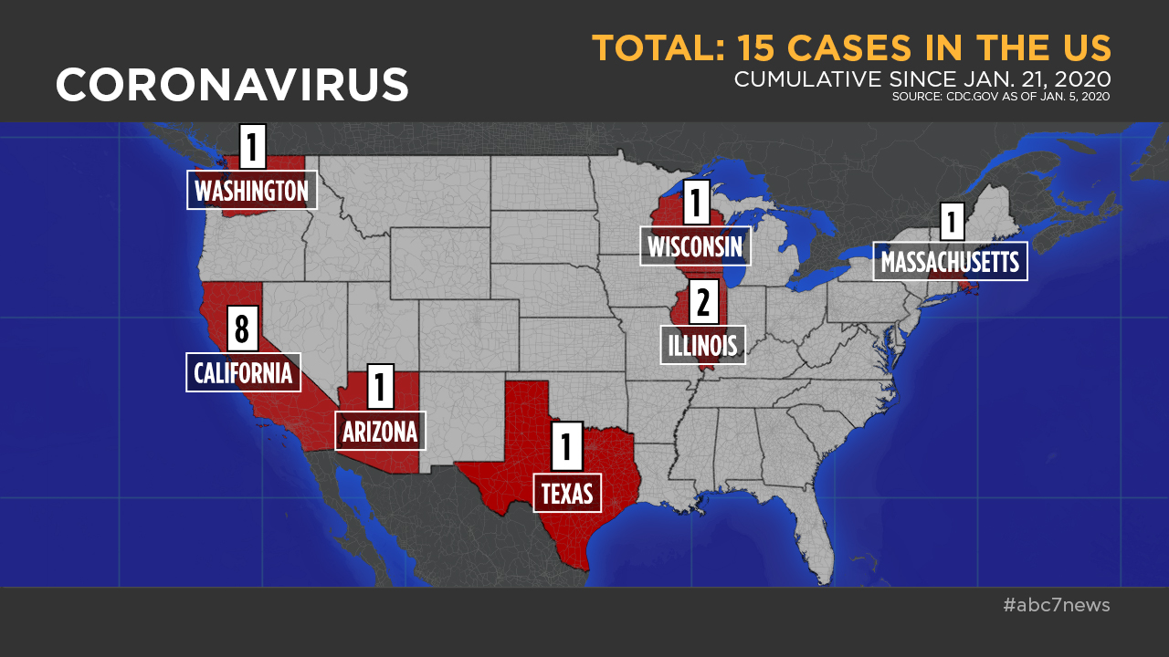 This image shows a map of the United States with numbers of confirmed cases of COVID-19 in the states of Arizona, California, Washington, Texas, Wisconsin, Illinois and Massachusetts on Feb. 13, 2020.