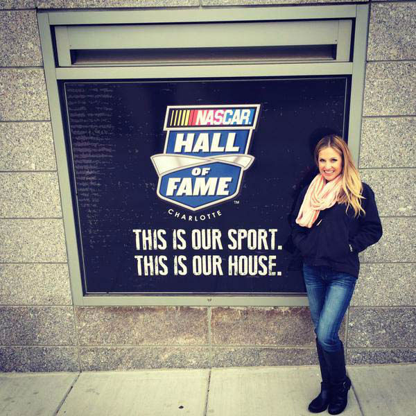 """<div class=""""meta image-caption""""><div class=""""origin-logo origin-image none""""><span>none</span></div><span class=""""caption-text"""">Katherine Whaley visiting the NASCAR Hall of Fame in Charlotte (KTRK Photo)</span></div>"""