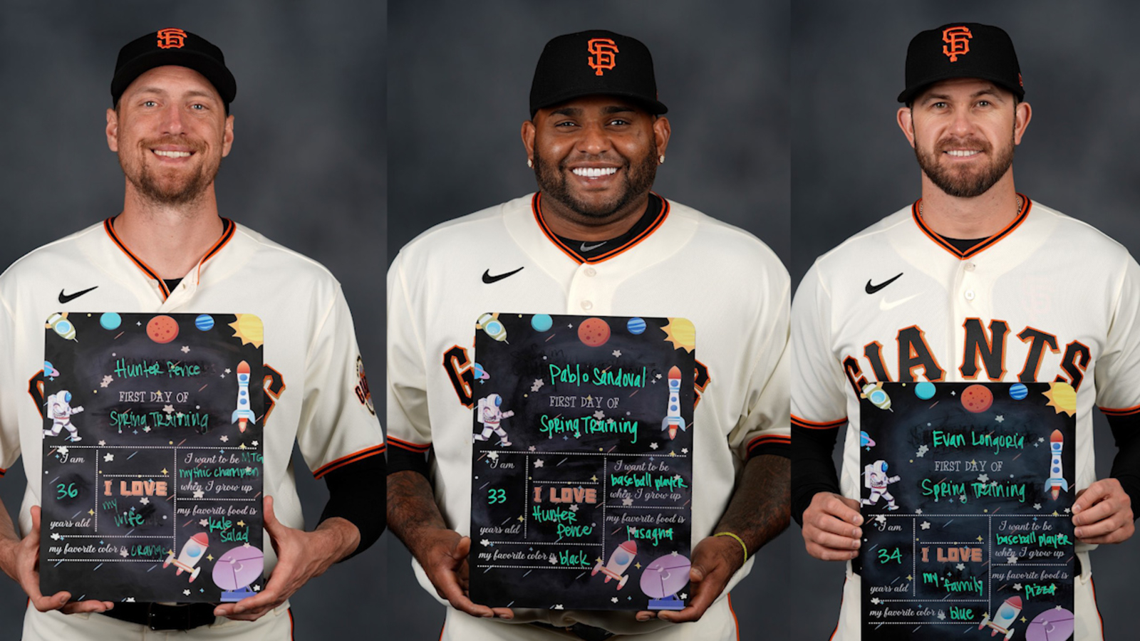 San Francisco Giants pose for 'back-to-school' photos on 1st day of Spring Training 2020