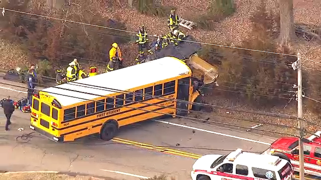 School bus, 2 vehicles involved in serious crash in New Jersey