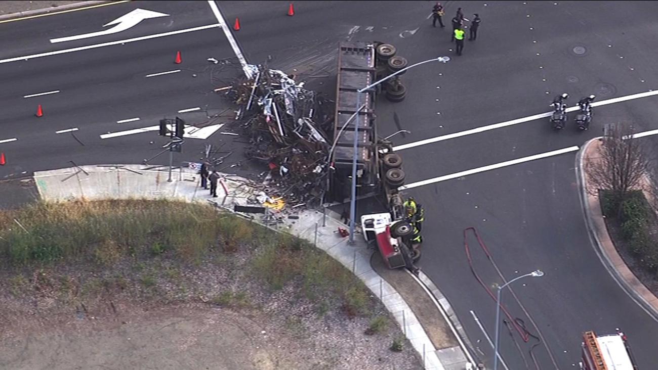 Overturned big-rig in Fremont.