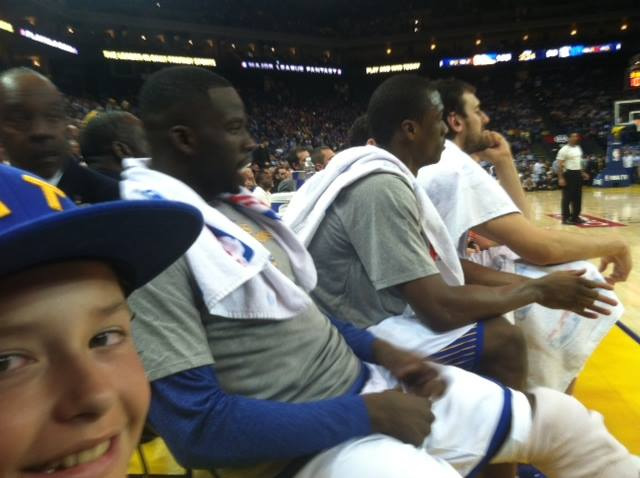<div class='meta'><div class='origin-logo' data-origin='none'></div><span class='caption-text' data-credit='Photo submitted by Tom/Facebook'>Golden State Warriors fan Tom captured this photo of his son and Dubs star Draymond Green during a game. Send your fan photos to uReport@kgo-tv.com!</span></div>