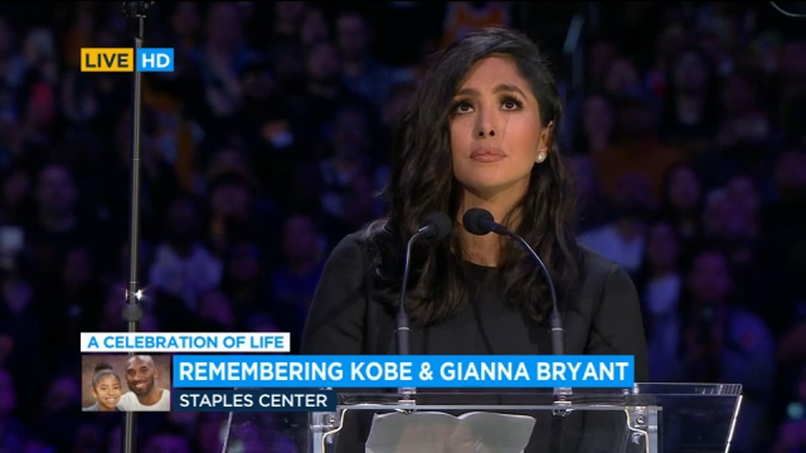 Image result for Vanessa Bryant pays emotional tribute to Kobe and Gianna at their memorial service (Videos)