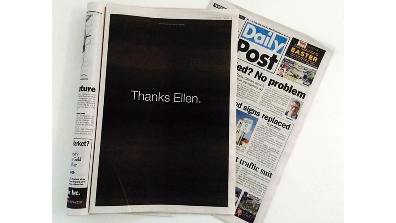 """Thanks Ellen"" full page ad in the Palo Alto Daily Post on Tuesday, March 31, 2010 to thank Ellen Pao for bringing her gender bias case to court."