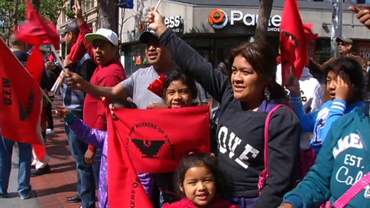 Hundreds of people marked Cesar Chavez Day by marching through the streets of San Francisco
