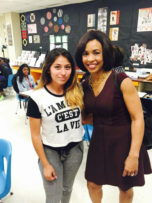 """<div class=""""meta image-caption""""><div class=""""origin-logo origin-image none""""><span>none</span></div><span class=""""caption-text"""">Gina Gaston with one of the students at Elsik High School (KTRK Photo)</span></div>"""