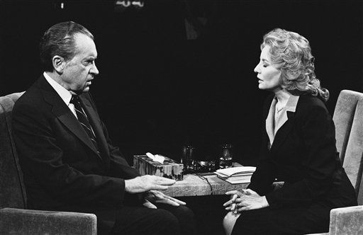 """<div class=""""meta image-caption""""><div class=""""origin-logo origin-image """"><span></span></div><span class=""""caption-text"""">Former President Richard M. Nixon answers question Thursday during interview by ABC television personality Barbara Walters on May 8, 1980 in New York. (AP Photo/Ray Stubblebine)</span></div>"""
