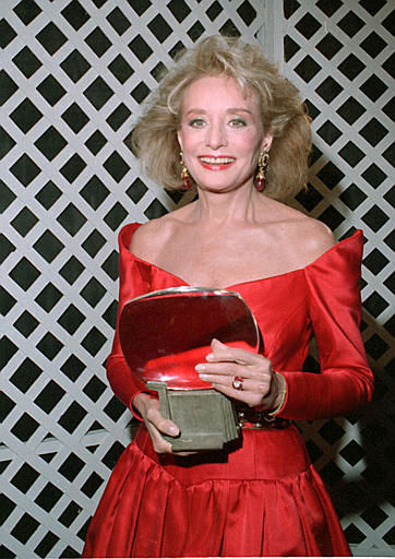 """<div class=""""meta image-caption""""><div class=""""origin-logo origin-image """"><span></span></div><span class=""""caption-text"""">Televison broadcast journalist Barbara Walters holds her induction award at the 6th annual Academy of Television Arts and Science's Hall of Fame in Los Angeles, CA on Jan. 7, 1990. (AP Photo/Doug Sheridan)</span></div>"""