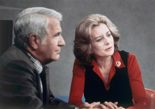 """<div class=""""meta image-caption""""><div class=""""origin-logo origin-image """"><span></span></div><span class=""""caption-text"""">Barbara Walters shown after opening night on the ABC evening news with Anchor partner, Harry Reasoner on Oct. 4, 1976. (AP Photo)</span></div>"""