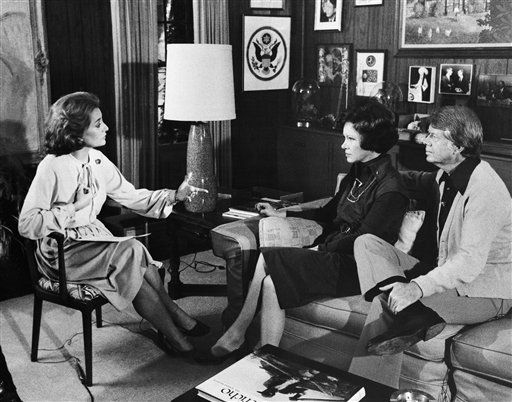 """<div class=""""meta image-caption""""><div class=""""origin-logo origin-image """"><span></span></div><span class=""""caption-text"""">Jimmy Carter and his wife, Rosalynn, center, are interviewed by ABC-TV correspondent  Barbara Walters,left, in Plains in December 1976 in their Georgia, home. (AP Photo)</span></div>"""