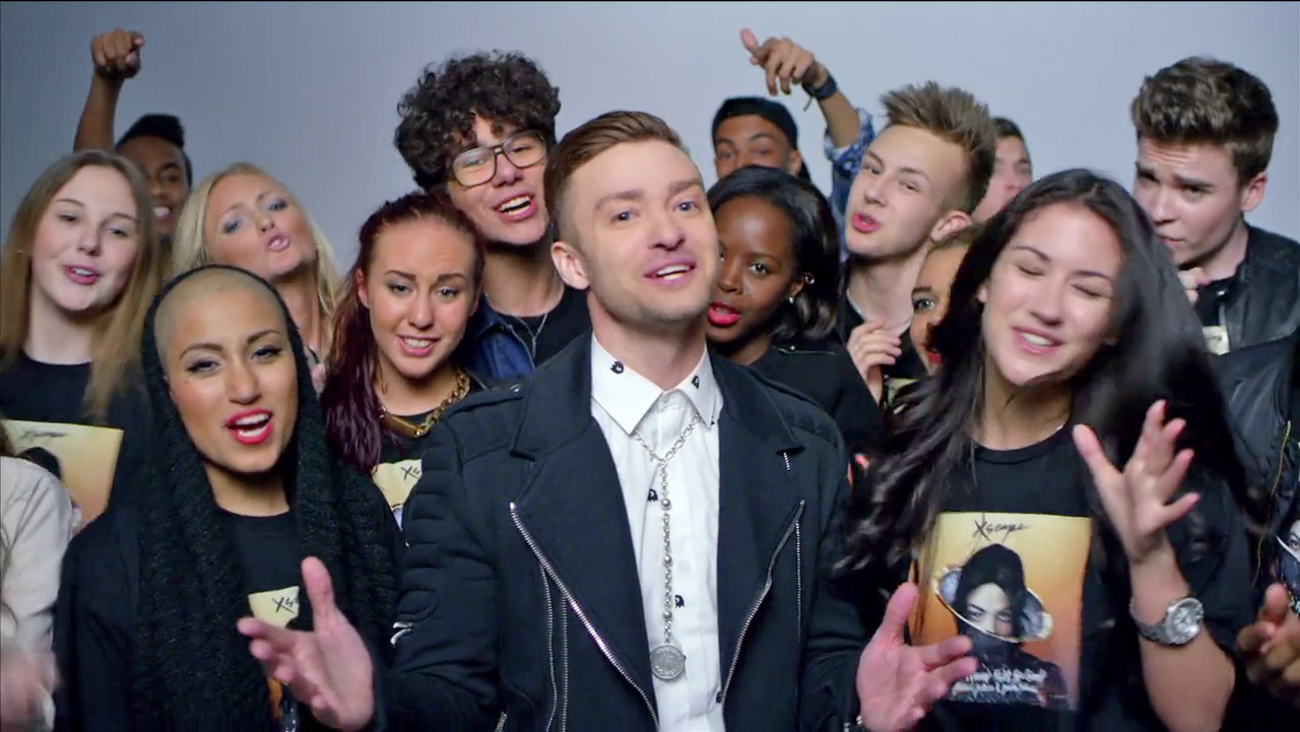 Justin Timberlake appears in a scene from the music video for 'Love Never Felt So Good' off Michael Jackson's 'Xscape' album. The video was released on May 14, 2014.