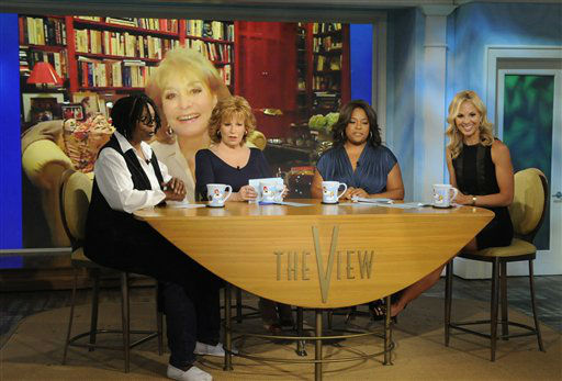 """<div class=""""meta image-caption""""><div class=""""origin-logo origin-image """"><span></span></div><span class=""""caption-text"""">Barbara Walters co-hosts with, from left, Whoopi Goldberg, Joy Behar, Sherri Shepherd and Elisabeth Hasselbeck in a broadcast on July 12, 2010 in New York. (AP Photo/ Jeffrey Neira)</span></div>"""