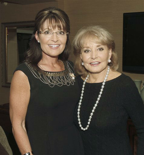 "<div class=""meta image-caption""><div class=""origin-logo origin-image ""><span></span></div><span class=""caption-text"">Former Alaska Gov. and Republican vice presidential candidate Sarah Palin, left, poses ABC's Barbara Walters, Sunday, Nov. 14, 2010 in New York. (AP Photo/ABC, Lou Rocco)</span></div>"