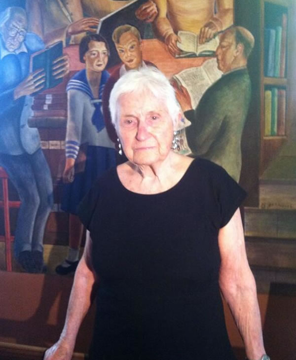 """<div class=""""meta image-caption""""><div class=""""origin-logo origin-image """"><span></span></div><span class=""""caption-text"""">This 91 year old is the 12 year old in the sailor suit-depicted in her dad's now mural at Coit Tower. (Carolyn Tyler)</span></div>"""