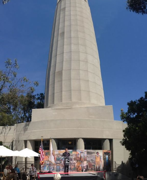 """<div class=""""meta image-caption""""><div class=""""origin-logo origin-image """"><span></span></div><span class=""""caption-text"""">Ceremony underway at Coit Tower to celebrate the reopening after 6 months of renovations. (Carolyn Tyler)</span></div>"""