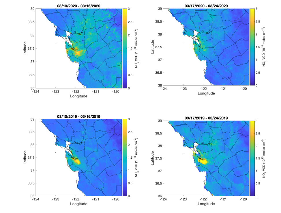 Maps show a side-by-side comparison in the drop of nitrogen dioxide in the Bay Area before and after the shelter-in-place orders in March 2020.