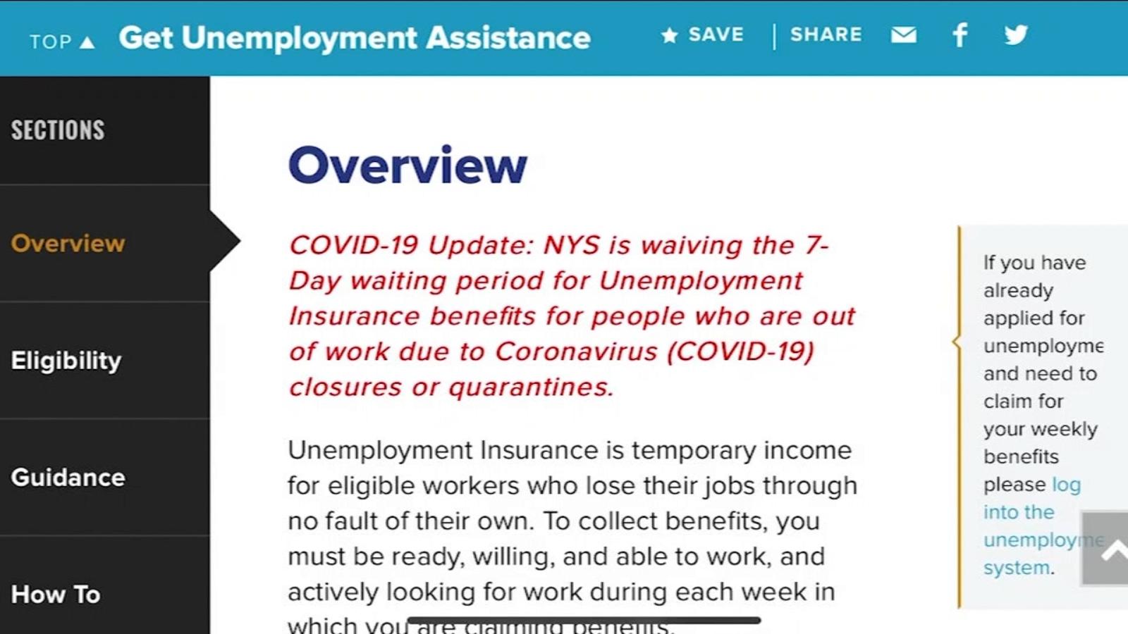 Coronavirus New York: NY reboots unemployment site to improve process -  ABC7 New York