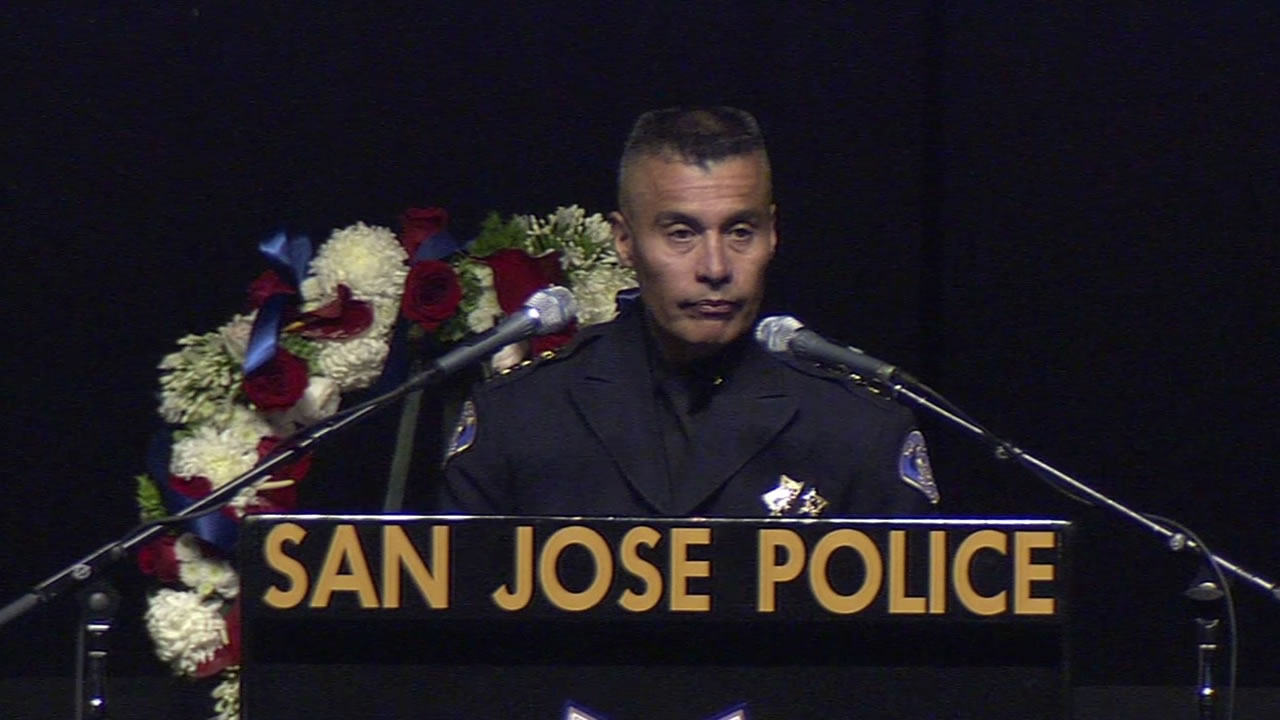 "<div class=""meta image-caption""><div class=""origin-logo origin-image kgo""><span>KGO</span></div><span class=""caption-text"">""Today, we are going to honor Michael,"" said SJPD Chief of Police Larry Esquivel at the SAP Center on April 2, 2015. (KGO-TV/Matt Keller)</span></div>"