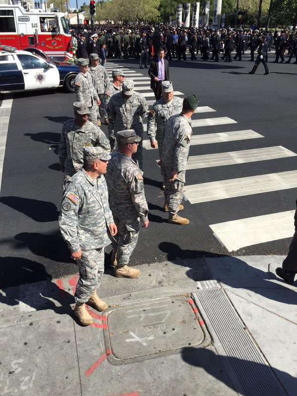 "<div class=""meta image-caption""><div class=""origin-logo origin-image kgo""><span>KGO</span></div><span class=""caption-text"">U.S. soldiers attend the memorial service for SJPD Officer Michael Johnson on Thursday, April 2, 2015. (KGO-TV)</span></div>"