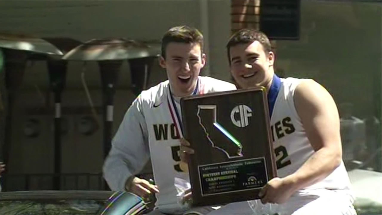 Danville celebrated the San Ramon Valley High School boys' basketball team's big State Championship win with a parade on Thursday, April 2, 2015.