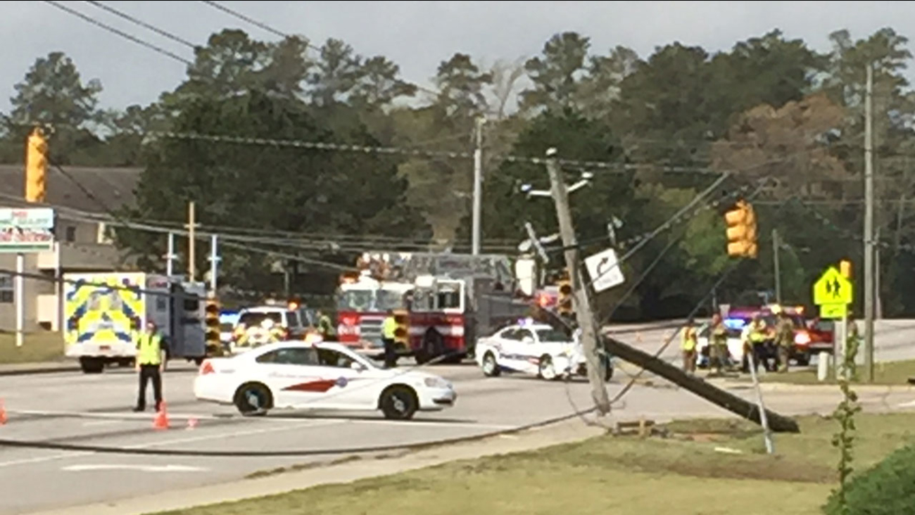 Accident on Cliffdale Road in Fayetteville knocks down power line.
