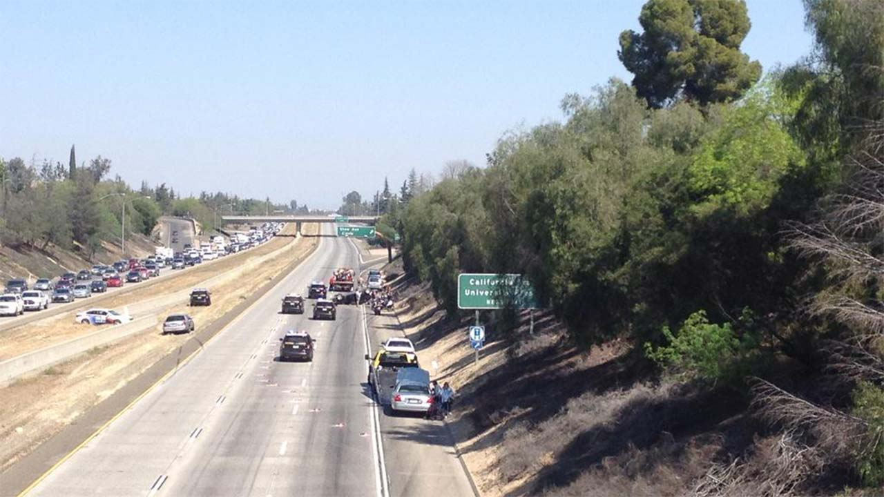 Northbound Highway 41 shut down for accident near Shaw, involving a CHP motorcycle.