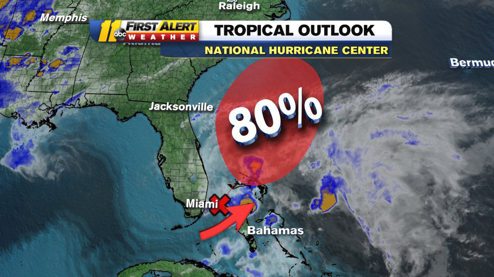 National Hurricane Center Tropical Storm Arthur Has 80 Percent Chance To Form This Weekend Abc11 Raleigh Durham