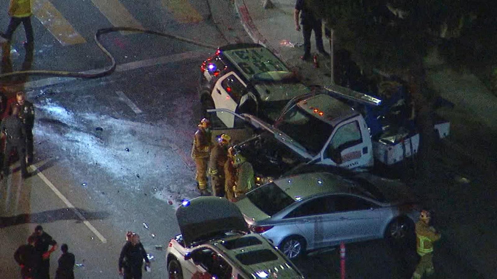 South LA crash: At least 8 injured after multi-vehicle crash involving LAPD vehicle