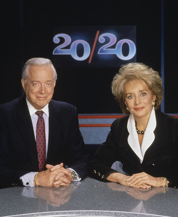 """<div class=""""meta image-caption""""><div class=""""origin-logo origin-image """"><span></span></div><span class=""""caption-text"""">Hugh Downs and Barbara Walters on the set of 20/20. The duo anchored the program together from 1979 until 1999 when Hugh Downs retired. (ABC/STEVE FENN)</span></div>"""