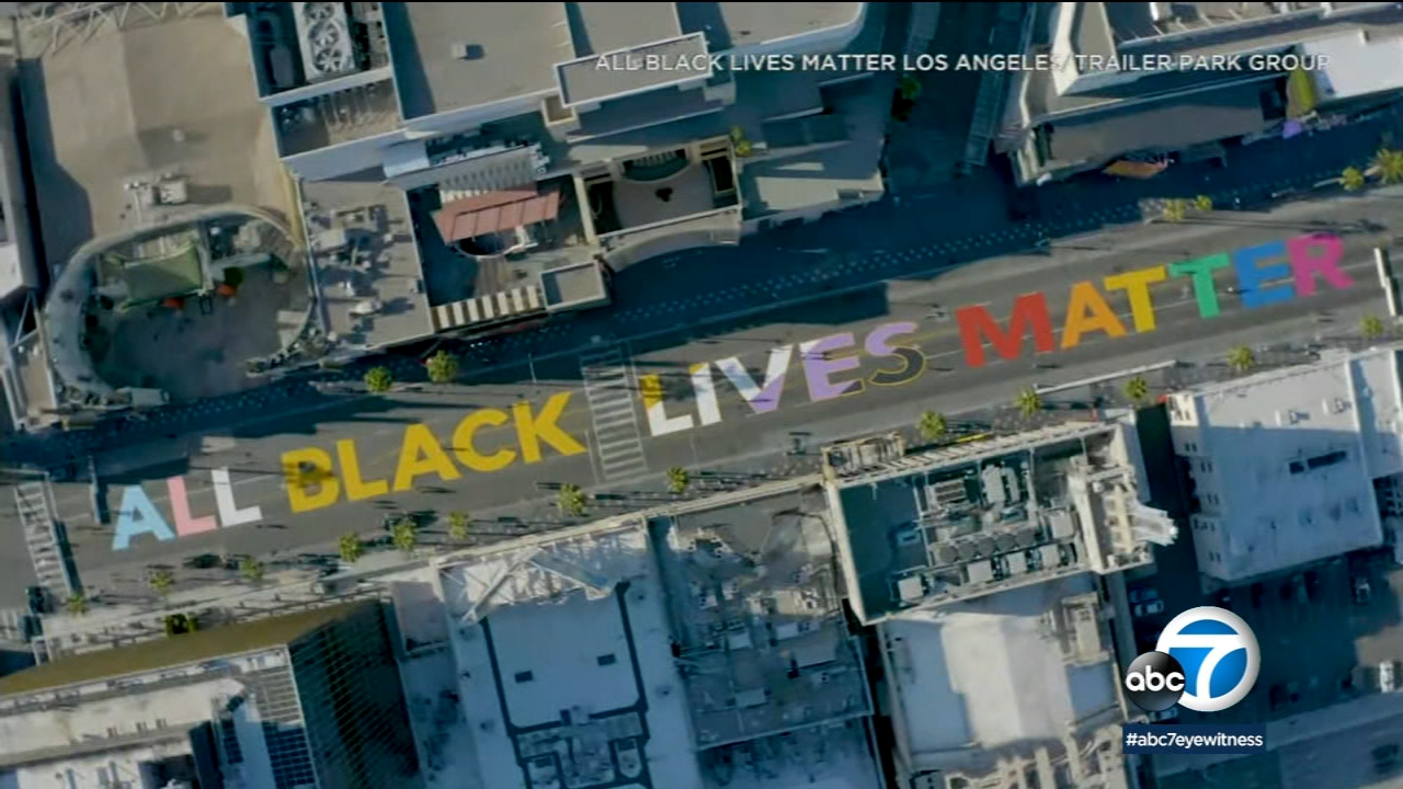"""""""All Black Lives Matter"""" painted in Hollywood ahead of solidarity march led by black LGBTQ+ community"""