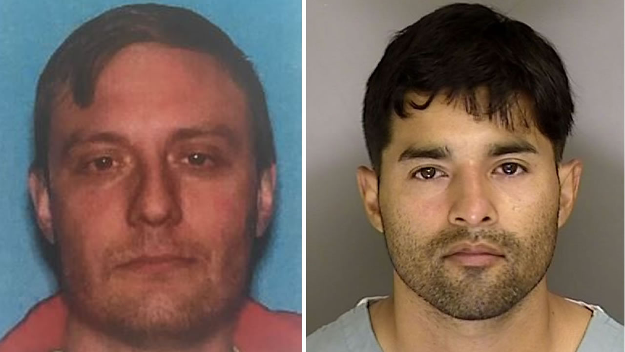 DMV photo of Robert Justus, left, booking photo of Steven Carrillo, right.