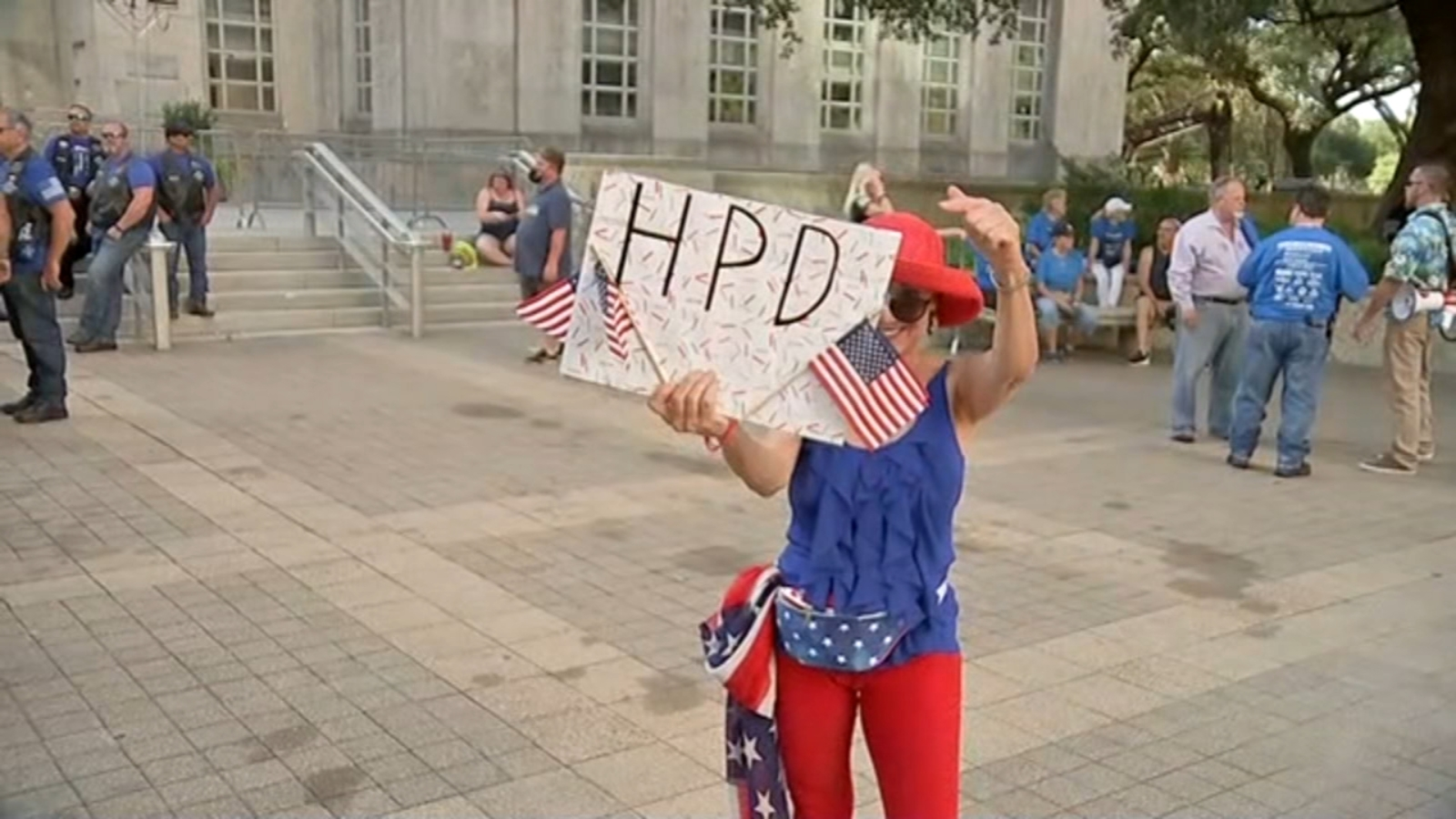 Demonstrators gather at City Hall in Houston for police appreciation rally
