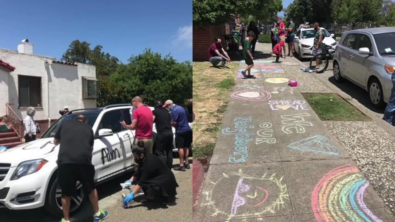 This split image shows people helping to clean graffiti off a car, left, and chalk messages of love and solidarity, left, in Alameda, Calif. on June 28, 2020.