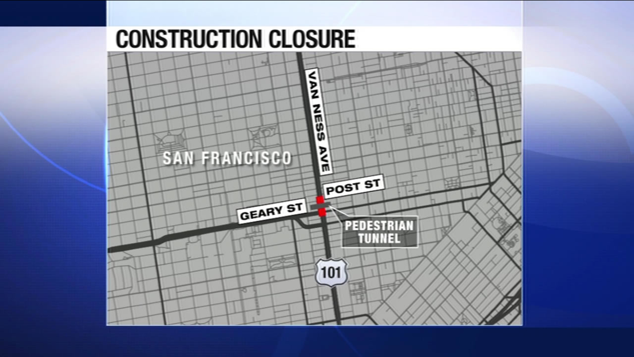 San Francisco's Van Ness Avenue between Post and Geary streets will be closed as crews install a pedestrian tunnel for the new California Pacific Medical Center.