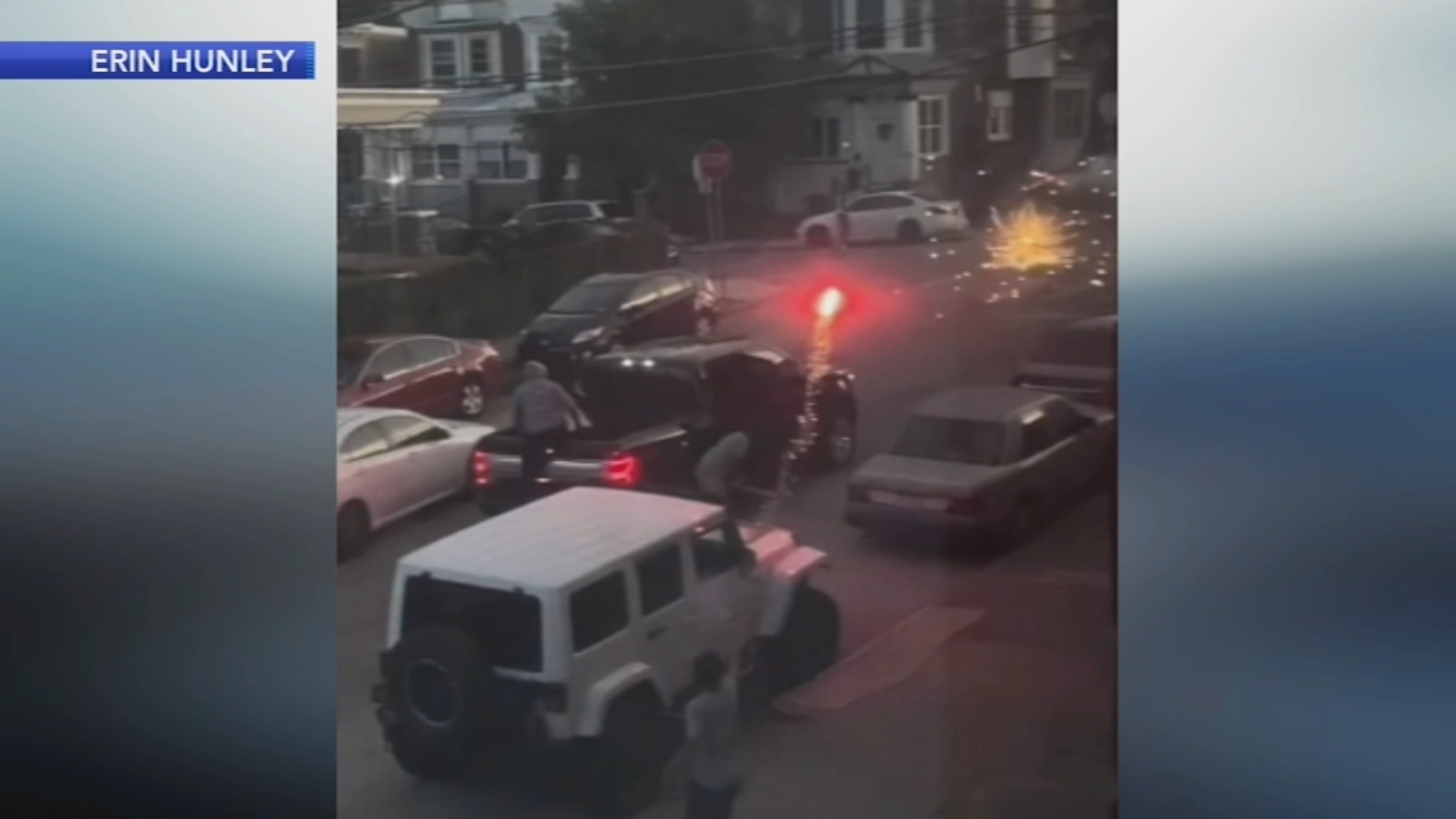 Wild fireworks street fight caught on video in Philadelphia