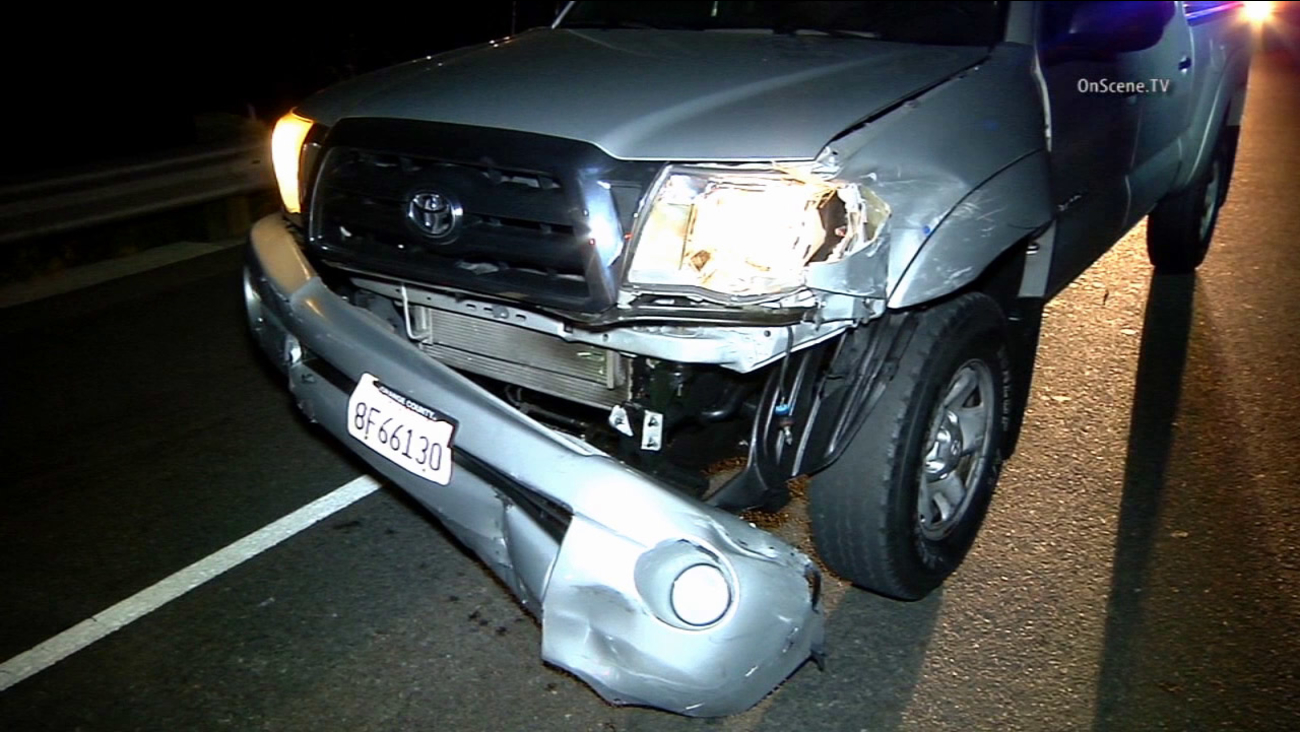 A La Palma man driving a Toyota pick-up truck rammed the car into police cruisers during a car chase on Sunday, April 5, 2015.